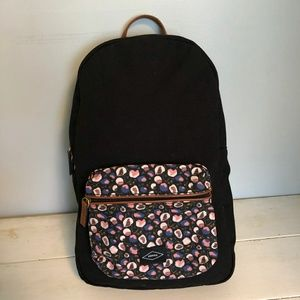 Black Floral Fossil Phoebe Backpack w/Laptop Sleev